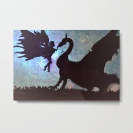 Fairy meets Dragon Metal Print