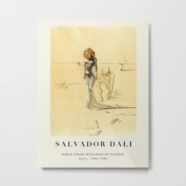 Poster-Salvador Dali-Female figure with head of flowers. Metal Print