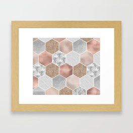 Gentle rose gold and marble hexagons Framed Art Print