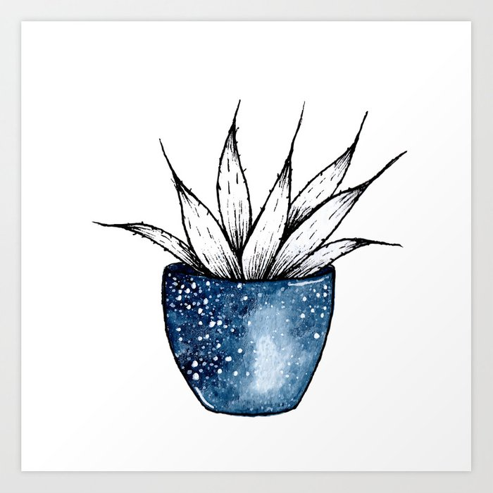 Galaxy Plant | Ink and Watercolor Art Print