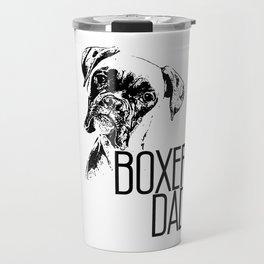 Mens BOXER DAD DOG FACE graphic - DOG LOVERS BOXER DAD GIFT print Travel Mug