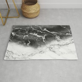Modern black and white marble ombre watercolor color block Rug