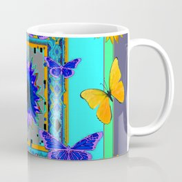 WESTERN BLUE & YELLOW BUTTERFLIES SUNFLOWERS Coffee Mug