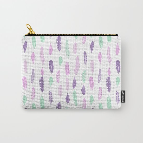 Feathers pastel lilac and mint pink nursery pattern minimal trendy boho hipster pattern Carry-All Pouch