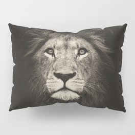 Beautiful monochrome lion face on dark background. Powerful calm and confident maned male lion. Pillow Sham