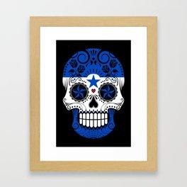 Sugar Skull with Roses and Flag of Honduras Framed Art Print
