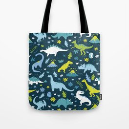 Kawaii Dinosaurs in Blue + Green Tote Bag