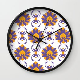 Islamic Illumination purple and orange palette Wall Clock