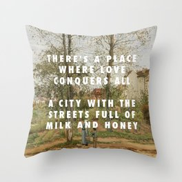 Camille Pissarro, Houses at Bougival (Autumn) (1870) / Halsey, Good Mourning (2017) Throw Pillow