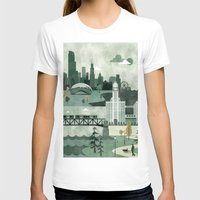travel poster T-shirts featuring Chicago Travel Poster Illustration by ClaireIllustrations