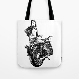 Woman Motorcycle Rider Tote Bag