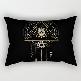 Mandala Tribal Eye Copper Bronze Gold Rectangular Pillow