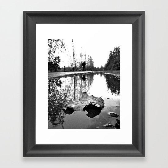 Rainwater reflection Framed Art Print