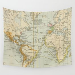 Vintage Map of The World (1911) 2 Wall Tapestry