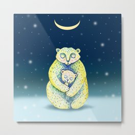 Mother bear and a small bear. Cute family. Cartoon style. Mother's Day illustration. Metal Print