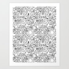 Infinity Robots Black & White Art Print