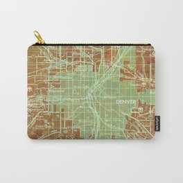 Denver Colorado map, year 1958, orange and green artwork Carry-All Pouch