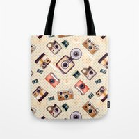 camera Tote Bags featuring camera by Dibujados