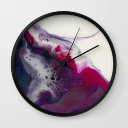 In Bloom - Abstract floral white pink and blue Resin art Wall Clock