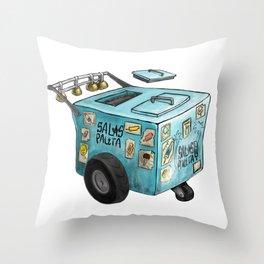 Blue Paletero Ice Cream Cart Throw Pillow