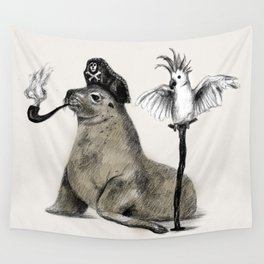 Pirate // seal parrot Wall Tapestry