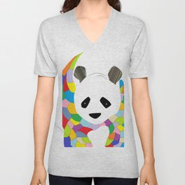 Patchwork Panda Unisex V-Neck