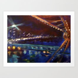 Ferris Wheel Night Art Print
