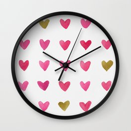 Watercolor Hearts - Pink, Red and Gold Wall Clock