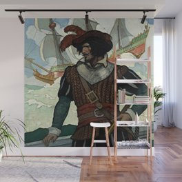 """""""Pirate"""" Book Cover by NC Wyeth Wall Mural"""