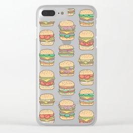 Hamburgers Junk Food Fast food on Dark Grey Clear iPhone Case