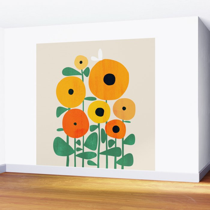 Sunflower and Bee Wall Mural