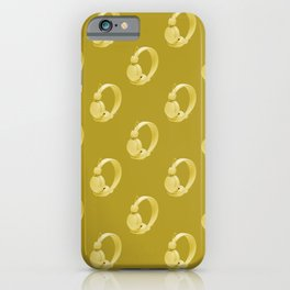 Yellow over ear headphones on a yellow background pattern iPhone Case