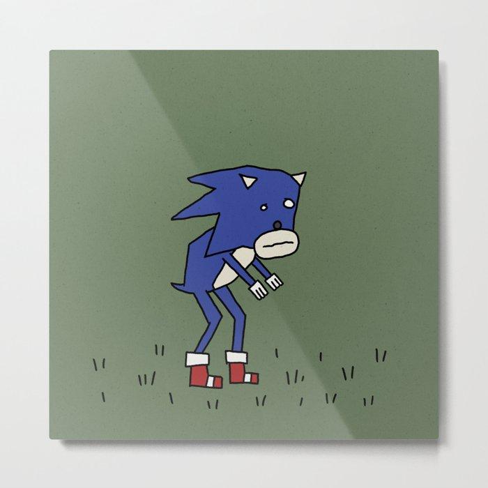 Sad Sonic in a Field Metal Print
