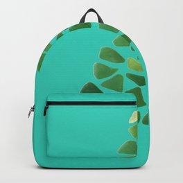 Green Sea Glass Tree on Turquoise #seaglass #Christmas Backpack