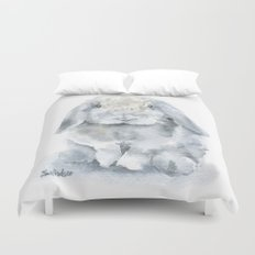 Mini Lop Gray Rabbit Watercolor Painting Duvet Cover