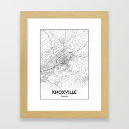 Minimal City Maps - Map Of Knoxville, Tennessee, United States Framed Art Print