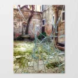 Broken window to Venice courtyard Canvas Print