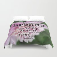 scripture Duvet Covers featuring Brenda scripture by KimberosePhotography