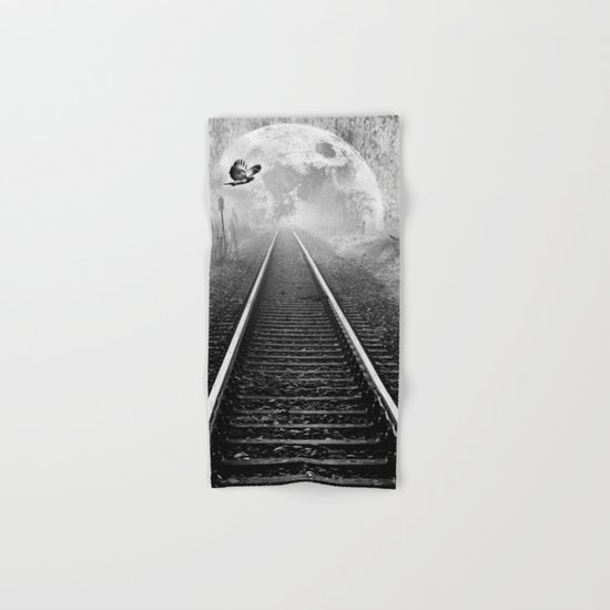 Railway to the moon in b&w Hand & Bath Towel