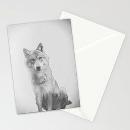 The Lone Wolf (Black and White) Stationery Cards