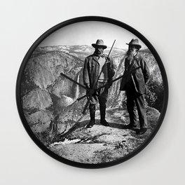 Teddy Roosevelt and John Muir - Glacier Point Yosemite Valley - 1903 Wall Clock