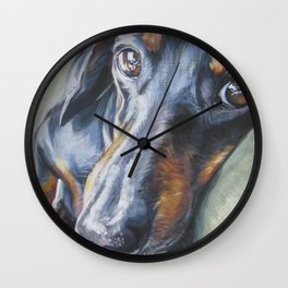 Dachshund Fine Art Dog Painting from an original painting by L.A.Shepard Wall Clock