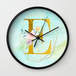 Gold Foil Alphabet Letter E Initials Monogram Frame with a Gold Geometric Wreath Wall Clock