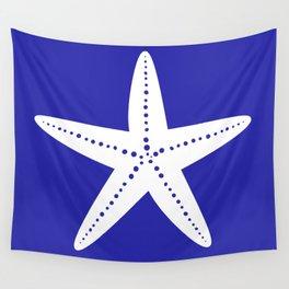 Starfish (White & Navy Blue) Wall Tapestry