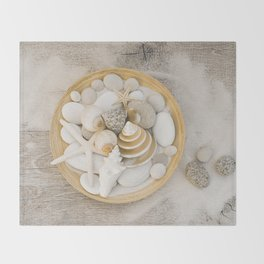 Sea Shell Collection Beach Summer Still Life Throw Blanket