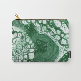 Tree Agate - Abstract Flow Acrylic - Green and White Carry-All Pouch