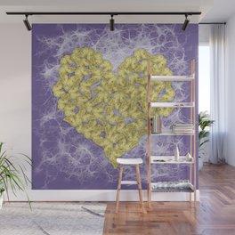 Gold butterflies on ultraviolet fractal texture Wall Mural