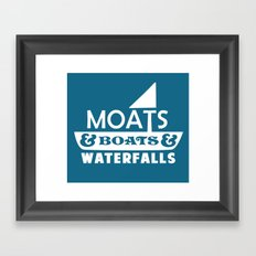 Moats and Boats and Waterfalls Graphic in Blue Framed Art Print