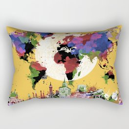 world map watercolor yellow Rectangular Pillow