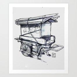 japan wood cart Art Print